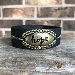 Jewelry - Hope bracelet - inspirational faux leather cuff